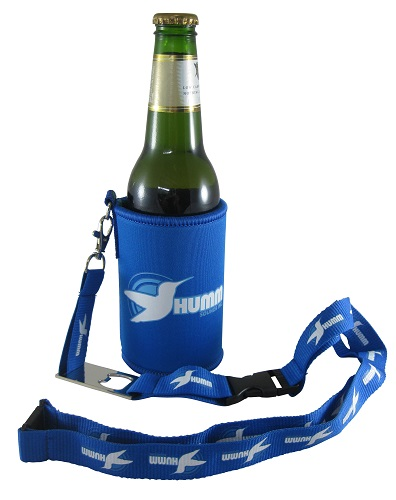 Drink / Stubby Cooler with Bottle Opener Lanyard