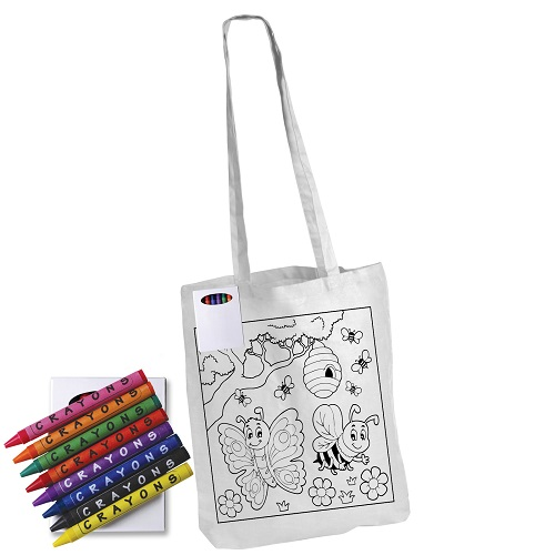 Colouring In Calico Bag Long Handles
