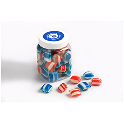 BFCFJ004 - Corporate Coloured Humbugs in Plastic Jar 150g
